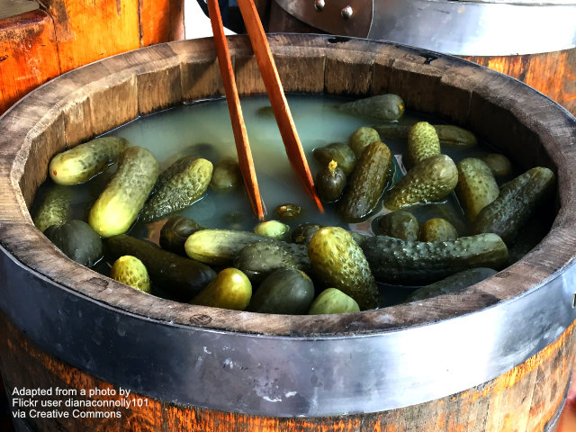 Pickles in a wooden barrel